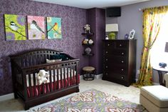 The rich purple is perfect with the bright greens, pinks, and blues in the bird prints and curtains from World Market. - I used SW Poetry Plum for the darker wall and SW Intuitive for the lighter walls. I LOVE how the color turned out, especially with those World Market curtains!