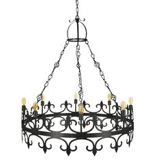 Soft curves and intricate detailing make this wrought iron chandelier an elegant home décor upgrade. Ideal for an entryway, this eight-light chandelier features a graceful round frame for a classically beautiful look. Wrought Iron Chandeliers, Elegant Chandeliers, Entryway Chandelier, Chandelier Lighting, Elegant Home Decor, Elegant Homes, Mediterranean Lighting, Wagon Wheel Chandelier, Round Frame