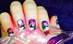Hand painted gel polish ( Gelish ) christmas inspired nails