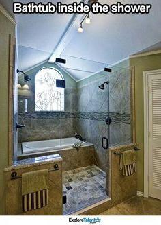 Bathtub inside the double headed shower!