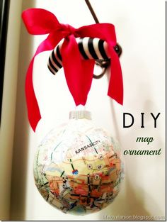"""DIY Map Ornament from Life.Love.Larson.  Featured in """"15 Great Map DIY's."""" #maps #diy http://thebigclockstore.com/category/blog/"""