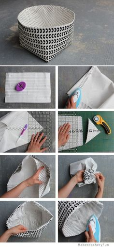 Sewing Fabric Storage Diy soft storage bins (made from cloth) - great for a kids room - Make these to hold all your household goodies! Fabric Storage Bins, Diy Storage, Storage Baskets, Fabric Boxes, Fabric Basket Tutorial, Sewing Projects, Diy Projects, Sewing Ideas, Patchwork Baby