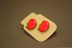 Apple Shaped Stud Earrings - Plastic Button Surgical Steel Posts $4 +s&h by JustPeachyHandmade on Etsy