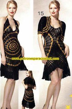 vestido negro tejido a base de círculos crochet
