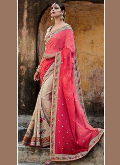 Buy Sterling Art Silk Beige And Rose Pink Patch Border Work Designer Half N Half Saree, Online