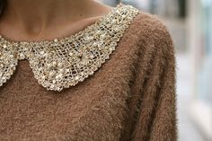 """.adding a vintage beaded collar..to any of your """"plain colored"""" sweaters..changes everything."""
