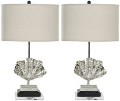 """Shell 27.5"""" H Table Lamp with Drum Shade"""