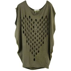 Army Green Cut Out Front Short Dolman Sleeve T-shirt ($40) ❤ liked on Polyvore featuring tops, t-shirts, shirts, hauts, green, green t shirt, short sleeve shirts, short sleeve t shirts, short sleeve tee and olive t shirt