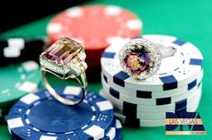 You'll feel beautiful as you roll the dice with incredible, colorful rings like these! [Promotional Pin]