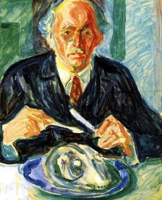 Self-Portrait with Cod's Head (c. 1940) by Edvard Munch