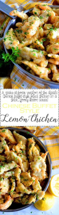A make-at-home version of the classic buffet-style fried chicken in a thick, gooey lemon sauce! Chinese Buffet Style Lemon Chicken is everything you need to make dinner extra special. #lemon #chicken #chinese #buffet #restaurant