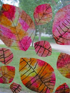coffee filter, liquid water colors, droppers, cut shapes, dry, draw lines = leaves
