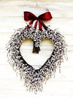 Valentines Wreath-White Heart Wedding by WildRidgeDesign on Etsy