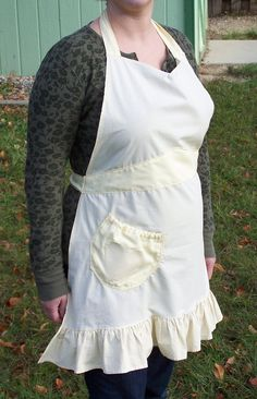 Ladies' Full Apron Yellow Gingham with by beforeNafterdesigns