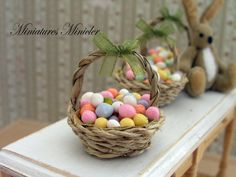 Dollhouse Miniature Easter Painted Eggs In The Wicker Basket  by Minicler on Etsy