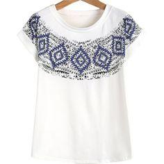 19,90EUR T-Shirt mit Ethnomuster in blau auf weiss Festival bohemian Hippie Style