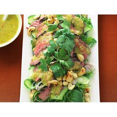 Spicy thai beef salad with nam jim dressing recipe - By Australian Women's Weekly Thai Beef Salad, Grill Plate, Spicy Thai, Fish Sauce, Dressing Recipe, Serving Platters, Coriander, Avocado Toast, Asparagus