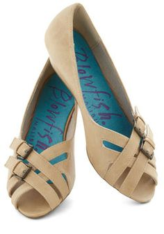 Beaches and Cream Wedge. Fixing your morning coffee on the ocean-view veranda, you pour a bit of local cream into your mug and tap these sand-hued, low wedges by Blowfish to the rhythm of the waves. #tan #modcloth