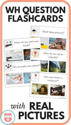 WH question flashcards that use real picture choices. Perfect activity for special education or speech and language therapy. Targets who, what, when, where, and why questions. Includes data collection sheet for progress monitoring. From Speechy Musings. Preschool Speech Therapy, Speech Therapy Activities, Speech Language Therapy, Speech And Language, Speech Pathology, Preschool Assessment, Autism Activities, Language Activities, Learning Resources
