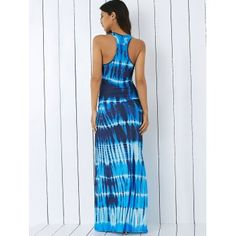 Bohemian Tie-Dye Illusion Print Racerback Maxi Tank Dress - BLUE XL
