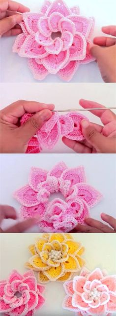 These beautiful and fancy 3D crochet flowers can become a finishing touch on just about any piece of attire, whether it is a piece of clothing, such as a hat, or an accessory like a bag. #freecrochetpatterns #crochetflowers