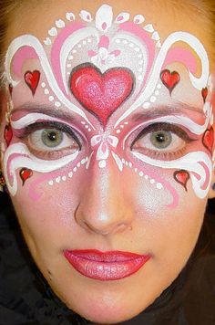 Heart Mask Face Paint....would be awesome for Valentine's Day Cheese show!!!