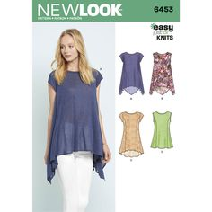 Misses Easy Knit Tops New Look Sewing Pattern 6453. Size 6-18.