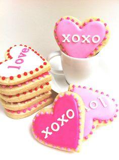 VALENTINE'S DAY Heart Cookies 3 1 dozen by SunshineBakes on Etsy