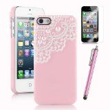 Pandamimi Deluxe Mint Pink Fashion Sweety Girls Hand Made 3D Lace and Pearl Hard Case Cover for iPhone 5 5G with Screen Protector and Stylus , for iPhone