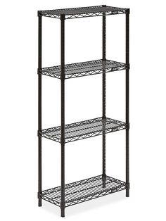 "Black Wire Shelving Unit - 24 x 12 x 54"" H-2420-54 - Uline Wire Shelving Units, Shelves, The Unit, Storage, Woolen Mills, Black, Purse Storage, Shelving, Black People"