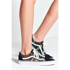 Vans X UO Camo Old Skool Sneaker ($60) ❤ liked on Polyvore featuring shoes, sneakers, camouflage shoes, low profile sneakers, low profile shoes, print sneakers and lacing sneakers