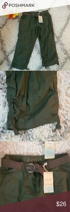 Beautiful belted Capris size 10 - nwt Beautiful green color Drawstring at bottom of legs Belt included Modern fit, sits low on waist, stretch (details in last picture) Great pair of pants  Original price $36 Sonoma Pants Capris