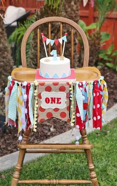 Decorated high chair at a circus birthday party! See more party ideas at CatchMyParty.com! #ChairDecorations #HighChair
