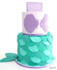 Mermaid cake with scales, sea shells and a lovely mermaid tail by susucre in Singapore