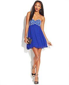96c1c4e3c48 B Darlin Juniors  Rhinestone Babydoll Dress   Reviews - Dresses - Juniors -  Macy s