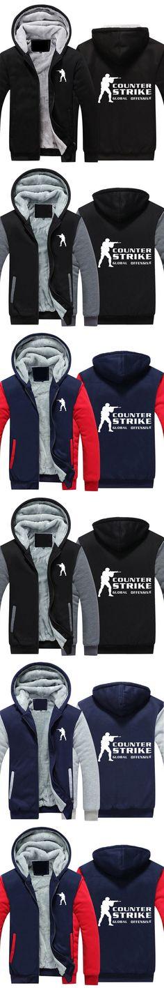 2018 Autumn and Winter Coat Game Counter Strike Print Cashmere Sweatshirts Mens Cotton Jacket Thick Warm Men Coat Fleece Hoodies