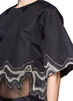 Black geode embroidered top - artistic fashion design detail; creative sewing // Phillip Lim