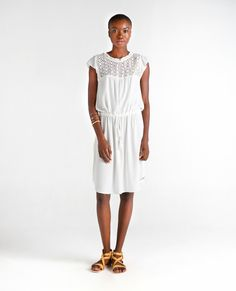 Ganges Frill Sleeve Lace Dress by Sitting Pretty. Made in Cape Town, South Africa. Lace Dress With Sleeves, Lace Insert, No Frills, Sustainable Fashion, South Africa, Organic Cotton, White Dress, Ivory, Cape Town