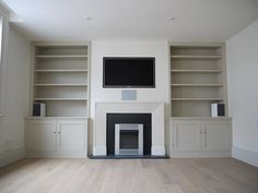 Find a new and stylish home for your sound system, TV, multi-media complex, book. - Before After DIY Living Room Cupboards, Living Room Wall Units, Living Room Built Ins, Home Living Room, Living Room Decor, Living Room Storage, Alcove Storage, Alcove Shelving, Alcove Cupboards