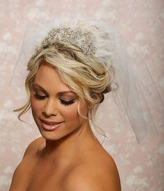 Love This!! 1950s wedding veils | Wedding Bridal Blusher Veil, 1950 veil, Swarovski Crystal Veil ...