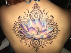 First tattoo lotus mandala. - First tattoo lotus mandala. Mandala Tattoo Design, Dotwork Tattoo Mandala, Backpiece Tattoo, Tattoo Designs, Colorful Mandala Tattoo, Ganesha Tattoo, Unique Tattoos, Beautiful Tattoos, Cool Tattoos