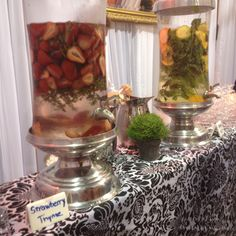 Strawberry Thyme water & Orange Mint Water, Mosaic Catering. So refreshing! Perfect for my wedding