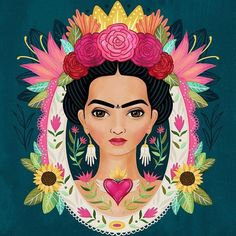 Another Frida piece. 🌹 I love seeing my progress on these portraits. I'm just loving my and of course my muse. Frida Kahlo Artwork, Kahlo Paintings, Frida Art, Arte Popular, Mexican Folk Art, Beauty Art, Love Art, Oeuvre D'art, Art Inspo