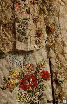 Detail trimming, robe à la francaise, France, 1755-1760. Ivory silk brocade with a striped ribbed ground depicting feathers and flowers tied in bouquets by a meandering leopard print ribbon.