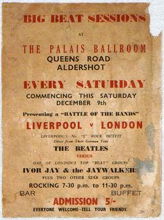 """photos from the Beatles show that only 18 people attended, at link - """"Sam Leach, The Beatles' then agent, and wanting to become their manager, attempted to introducethe groupto London agents by promoting a gig at The Palais Ballroom, Aldershot, on 9th December 1961. The show was not advertised properly and, as a result, only 18 people attended. Weeks after thisBrian Epsteinbecame the group's manager."""""""