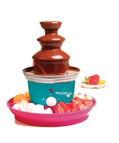 Perfect for parties, the colorful machine creates decadent fondue fountains that kids will love. It comes with a tray for holding treats to dip and six mini forks. Includes fondue fountain, tray and six mini forksPlasticHand washImported Chocolate Fondue Fountain, Chocolate Fountains, Tasty, Yummy Food, Delicious Recipes, Family Kitchen, Love Chocolate, Valentines Day Party, Cool Kitchens