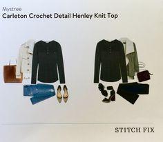 Stitch Fix January 2016 Mystree Carleton Crochet Detail Henley Knit Top