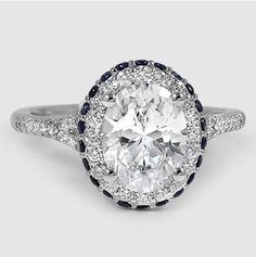 White Gold Circa Diamond Ring with Sapphire Accents // Set with a Carat, Oval, Super Ideal Cut, F Color, Clarity Diamond Cool Wedding Rings, Wedding Ring Designs, Oval Engagement, Diamond Engagement Rings, Diamond Rings, Bling Bling, Diamond Girl, Sapphire Earrings, Beautiful Rings