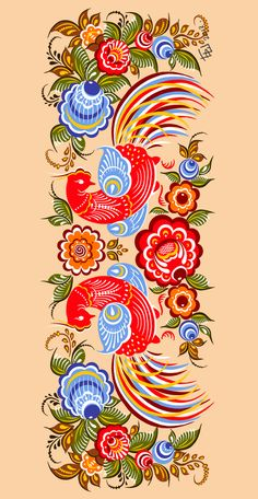Folk Gorodets painting from Russia. A floral pattern with two birds.