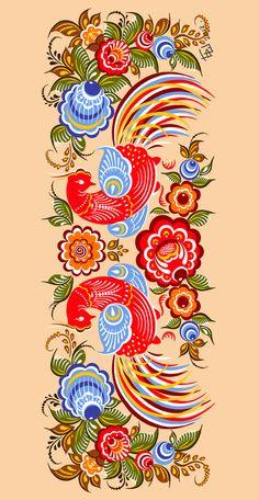 Folk Gorodets painting from Russia. A floral pattern with two birds. #art #folk #painting #Russian Polish Folk Art, Russian Folk Art, Russian Painting, Scandinavian Folk Art, Truck Art, Pintura Country, Arte Popular, Bird Art, Pattern Art